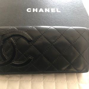 Chanel Black and pink leather wallet